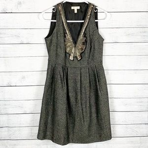 UO Silence & Noise Beaded Chevron Tweed Dress